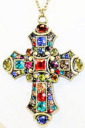 Cubic Zirconia Antique Gold Cross Necklace