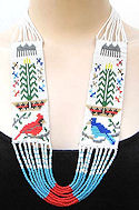 Cardinal, Blue Jay and Corn Pollen Beaded Long Necklace