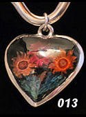 Nahua Reversible Flower Heart Pendant #013