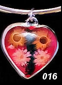 Nahua Reversible Flower Heart Pendant #016