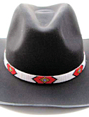 White, Black & Red Crossroads Diamond Beaded Hat Band