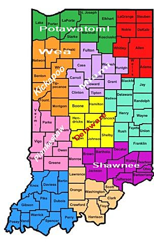 Indiana tribes map