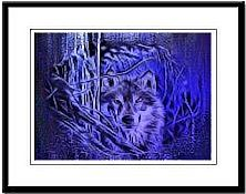 Framed Night Warrior wolf art print