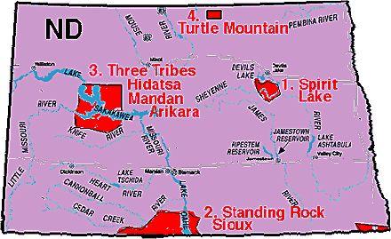 North Dakota tribes map