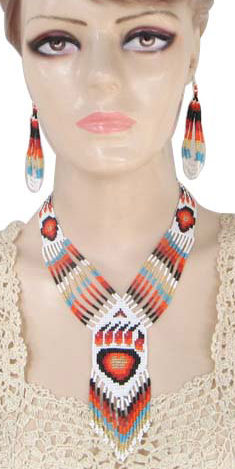 hand beaded bear paw lariat necklace and earrings set