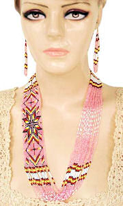 hand beaded butterfly lariat necklace and earrings set