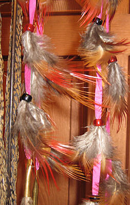 detail of dreamcatcher feathers