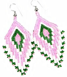 pink floral seed beaded earrings