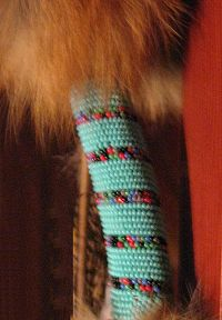 red fox dance staff beadwork