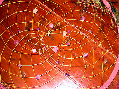 Details of amethyst crystals in the web