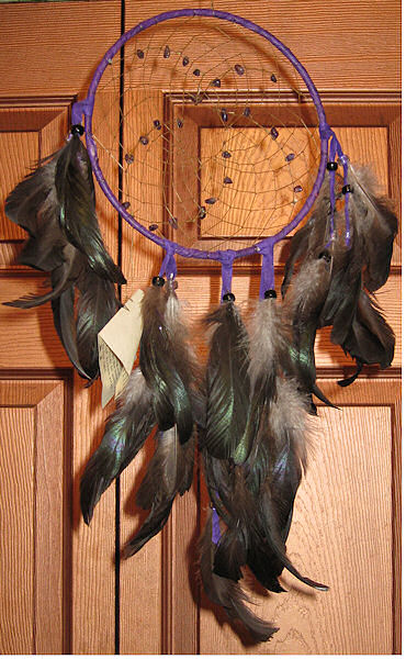dream catcher using furnace neck hackle feathers