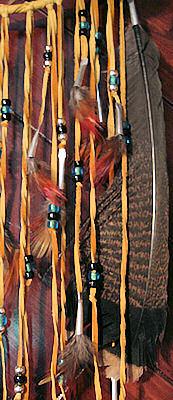 wild turkey feather on antler dreamcatcher