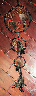 Black Buckskin and Red Coral Tripple Dreamcatcher