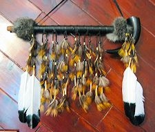"18"" Buffalo Horn Peace Pipe with Golden Pheasant Feathers"