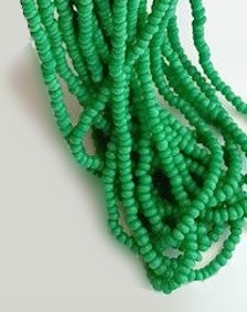 Leaf Green Opaque Seed Bead Hank #47, Size 11/0