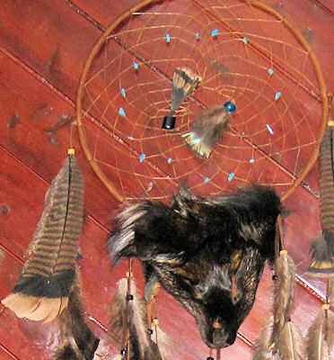 detail of fox buckskin dreamcatcher