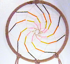 tan or beige spiral seed beaded dream catcher