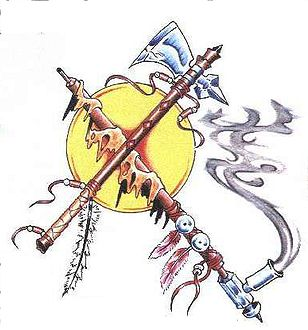 tomahawk and pipe tattoo design