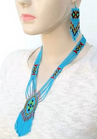 hand beaded lariat necklace and earrings set