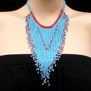 Hand beaded choker necklace and earrings set