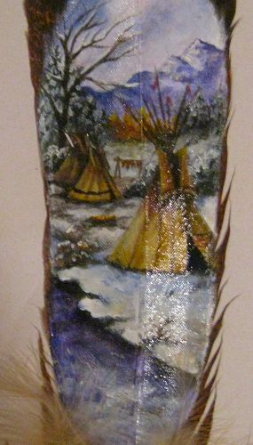 detail of Winter Tipis original hand painted feather painting