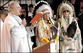 Blackfeet spiritual leader, George Kicking Woman funereal