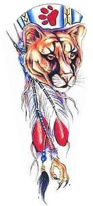 native american mountain lion tattoo design