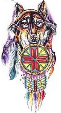 native american wolf tattoo design