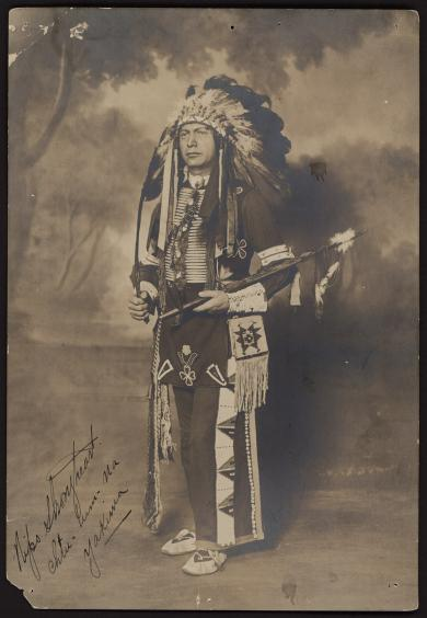 Nipo Strongheart, native American actor and participant in Wild Bill West Show, circa 1915