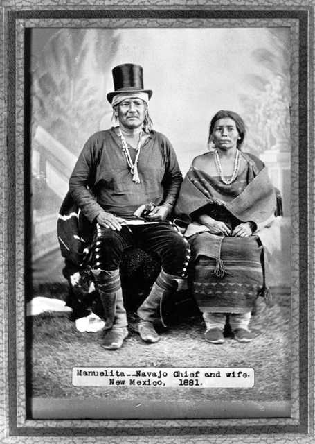 Manuelita, Navajo Chief, and wife in 1881