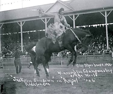 Jackson Sundown on Angel at Pendleton Rodeo 1916 Championship