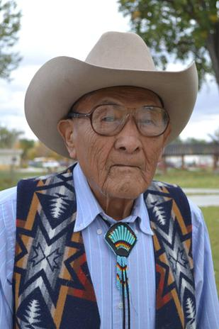 Joseph Medicine Crow in 2012 outside his home in Lodge Grass, Montana