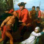 Johnson sparing Baron Dieskau's life after the Battle of Lake George. Public Domain Photo